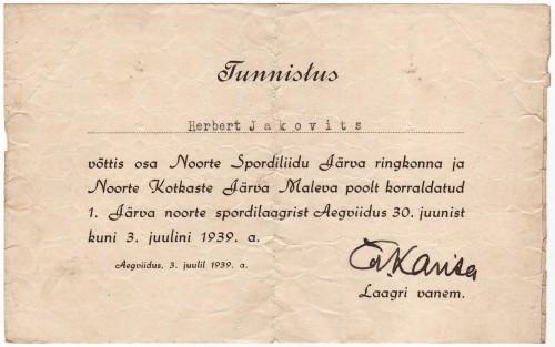 H. Jakovits tunnistus 1939