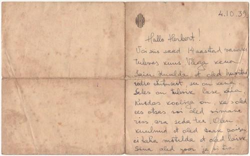 Onkel Aleksi kiri Herbertile