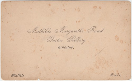 Mathilde Margarethe Raud ja Gustav Piilberg kihlateade