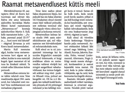 Koeru Kaja aprill 2014 - Raamat metsavendlusest küttis meeli