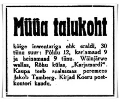 1929.06.26 JT Müüa talukoht Karjamardi