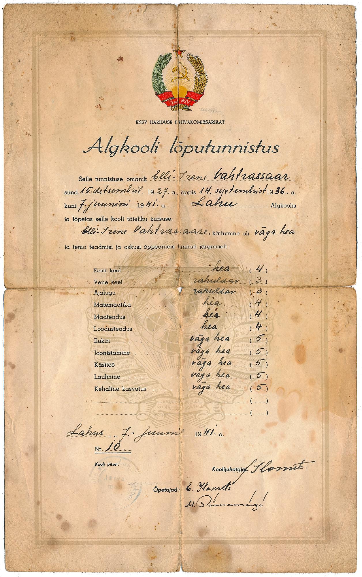 Elli Irene Vahtrasaar tunnistus 1941-ek