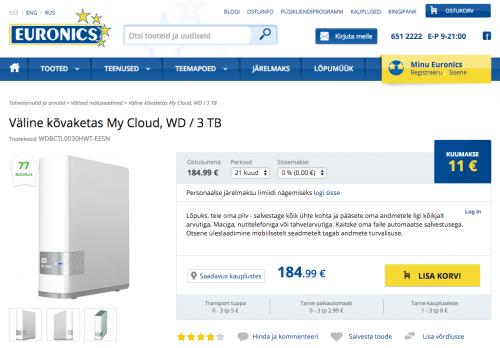 Väline kõvaketas My Cloud, WD / 3 TB ©Euronics